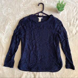 H&M Dark Blue Lace Crew Neck Sweater